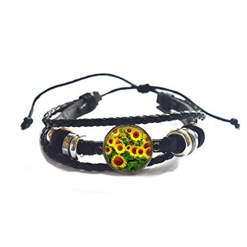 Pulsera de girasol, joyería de girasol, regalos, dama de honor de girasol amarillo, brazalete de flores de girasol, flores de novia, brazalete de dama de honor # 153