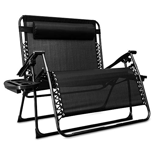 Livivo Love Seat Style Reclining Gravity Lounger Chair For 2 People Two Seat Couch For Outdoor Loveseat Astonshedsuk