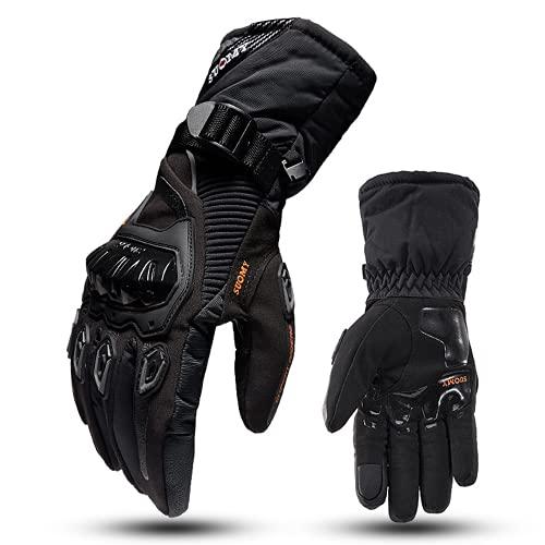 Guantes de motocicleta de invierno, guantes de conducción impermeables y cálidos, guantes gruesos para pantalla táctil adecuados para actividades al aire libre como motocicletas y bicicletas,Negro,L