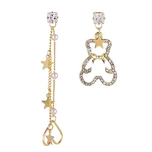 Aguja de plata S925 Pendientes de amor de oso con diamantes asimétricos franceses y pendientes de perlas largas salvajes para mujer