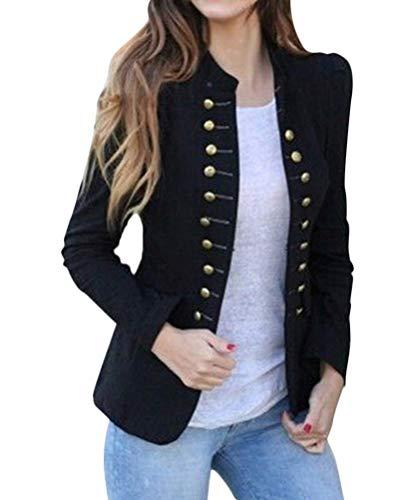 Tomwell Damen Blazer Freizeit Stehkragen Business Büro Anzug Jacken Elegant Mantel mit Knopfleiste Military Coat Lang Blazer Slim Fit Blazer Schwarz DE 40
