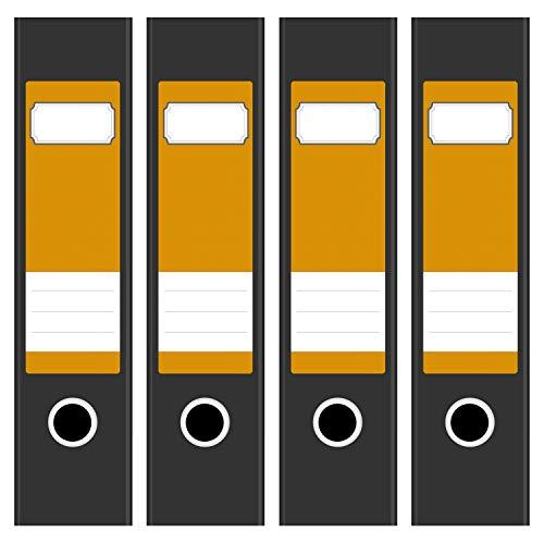 4 Ordnerrücken Etiketten für breite Akten-Ordner - Farbe Orange 3 - Design Rückenschilder Aufkleber (6cm breit) selbstklebend, beschreibbar