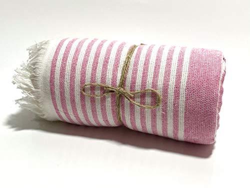 AKEM Toalla de sauna, baño, toalla de playa, toalla de hamam, en diseño de rayas, 100% algodón, para W/M/D (rosa y blanco)