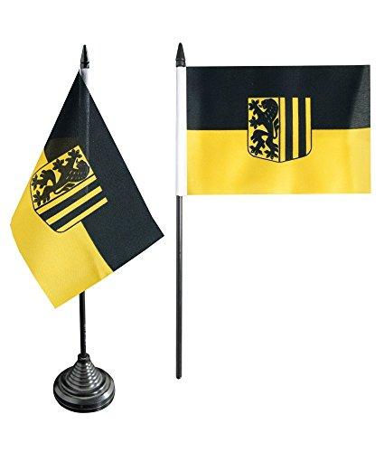 Tischflagge / Tischfahne Deutschland Stadt Dresden + gratis Aufkleber, Flaggenfritze®