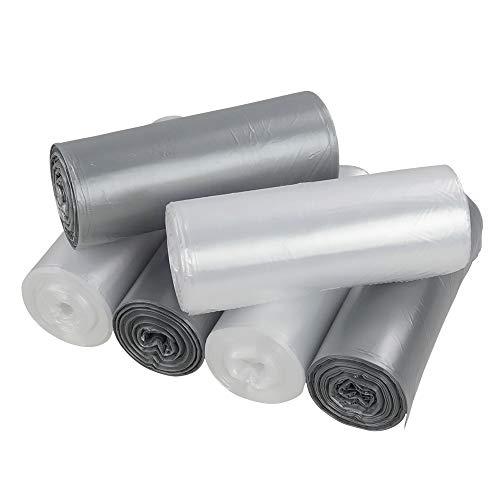 Sandmovie 5 Liter Transparent und Grau Abfallsack Müllbeutel, 6 Rollen/150 Beutel