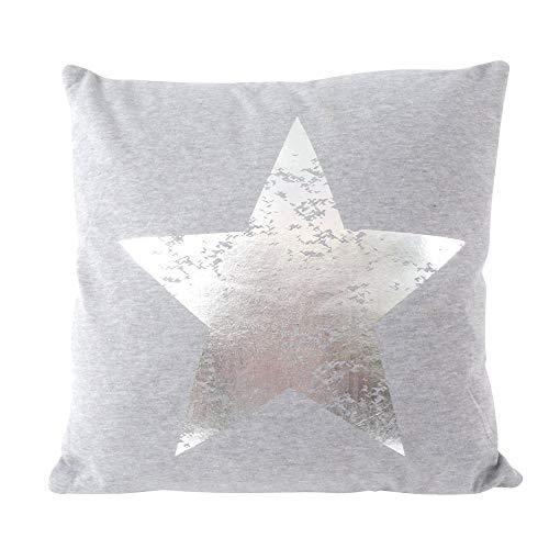 CB Home & Style Dekokissen Sterne 45 x 45 cm Grau Silber Kissen
