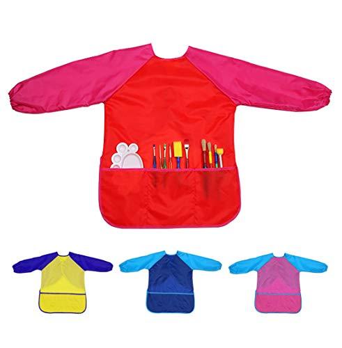 Xinyanmy 4er Pack Kinder Kittel Schürze mit Langarm und 3 Taschen für Malerei,Wasserdicht Malschürze Kinder Malkittel Bastelschürze Alter 3-10 Jahre Kinder Mädchen Jungen