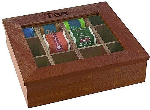 APS grote theedoos met 12 kamers van ca. 30 x 28 cm, hoogte 9 cm rood-bruine houten doos met kijkvenster van acryl