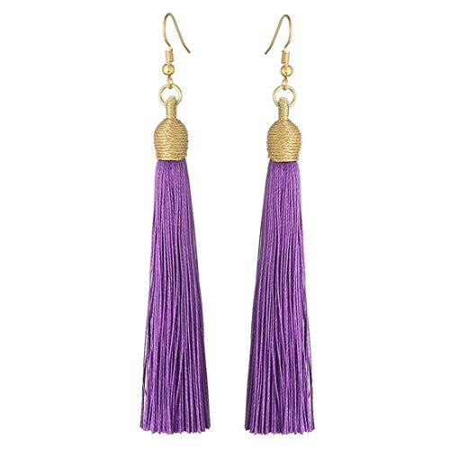 KLFrogPond Boho Thread Long Tassel Dangle Drop Colorful Fringe Earrings Silk Fabric Ethnic Vintage Charms Eardrop (Dark Purple)