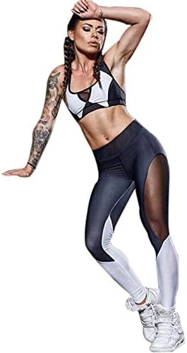 Xuanytp Pantalon de Yoga Pantalon De Remise en Forme Fitness Noir Impression Pantalons Jambes Slim Jeans évacuation De L'Humidité Sportswear