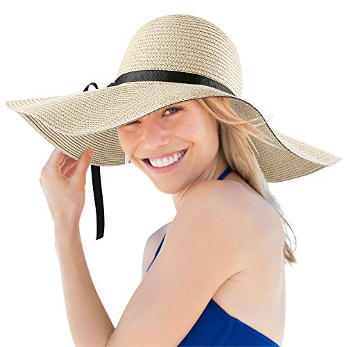 Magicfun Femme Chapeau de Soleil Large Disquette Bord Chapeau UV Protection D'été Pliable Chapeau de Paille Rayé Beachwear Voyage