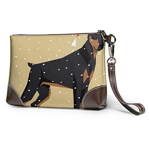 JHGFG Bolso de Mano Polygon Dog Collection Doberman Pinscher Cartera de Cuero Cartera de Embrague para Mujer Cartera para Mujer Smartphone Bolso de Pulsera