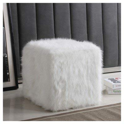 HomePop Faux Fur Poof , White