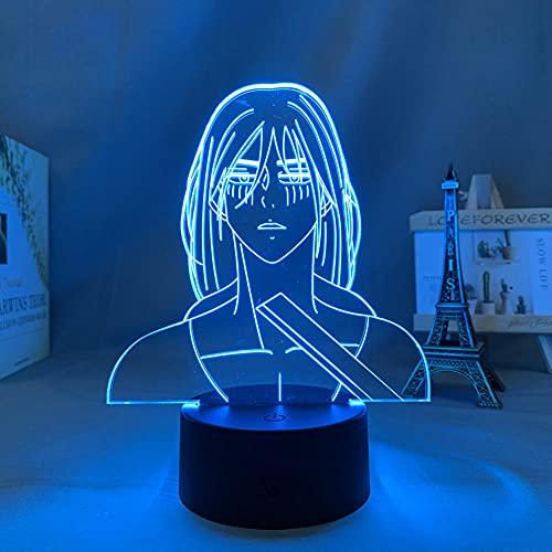 Lámpara de noche 3D con diseño de anime, LED, lámpara de luz nocturna, ataque a titanio de tierra, para niños, dormitorio, decoración, cumpleaños, manga, ataque a titanio 3D lámpara ZMSY