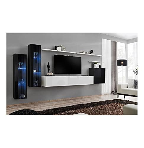 AC-Déco Ensemble Mural - Switch XI - 2 Vitrines LED Noires + Banc TV Blanc + 1 Vitrine Carrée Noire + 3 étagères Blanches
