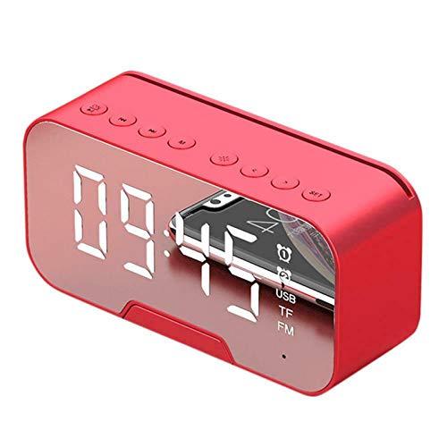 PANYUE Radio despertador con altavoz Bluetooth, reloj despertador con radio FM y función de soporte para teléfono para dormitorios, hogar y cocina