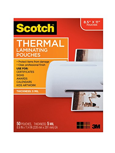 Scotch Thermal Laminating Pouches 89 x 114Inches 5 mil thick 50Pack TP585450