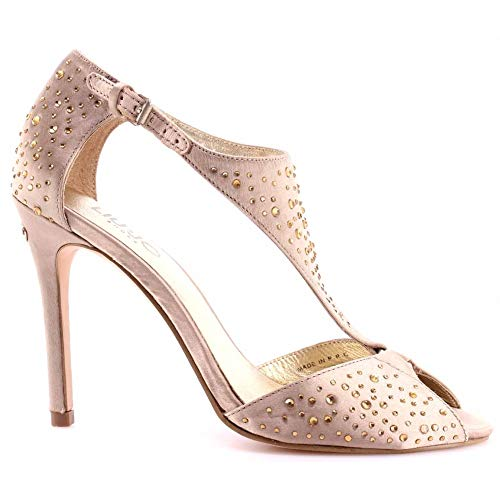 Scarpe Sandalo Tacco Donna Liu Jo Sandals Clio Ivory Cream Beige Crystal Strass