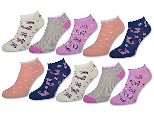 10 Paar Kinder Sneaker Socken Jungen & Mädchen Baumwolle Kindersocken (23-26, 10 Paar | 56269)