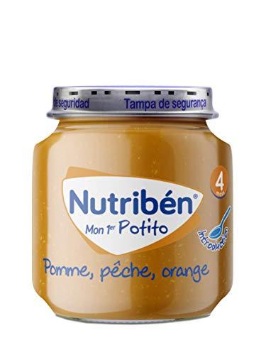 Nutribén Mon Premier Potito, Petit Pot Bébé, Pomme, Pêche, Orange, Dès 4 Mois, Sans Sucres Ajoutés, 120 g