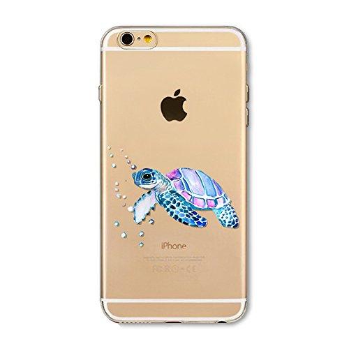 "CoqueiPhone 6 Silicone, iPhone 6S Coque Transparente TPU Gel Étui Housse Souple de Protection pour 4.7"" iPhone 6/iPhone 6S Ultra Mince Anti Choc Anti-rayures Bumper Case Tortue Mignon Animal"