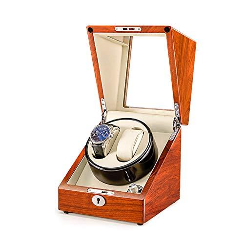 NuanXing Caja enrolladora de Reloj Doble de Madera Maciza para Relojes automáticos 4 Modos de rotación Soporta Carga USB Motor silencioso