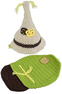 ENCOCO Baby Newborn Photography Props Outfit Girls Boys Handmade Crochet Scarecrow Photo Costume Set