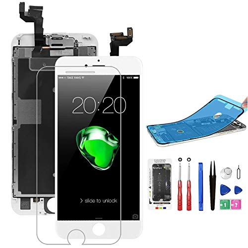 for iPhone 6S Screen Replacement White with Polarized Screen+Front Camera+Earpiece, Bsz4uov LCD Touch 3D Digitizer Display for A1633, A1688, A1700, w/Waterproof Frame Adhesive Sticker+Repair Tools Kit