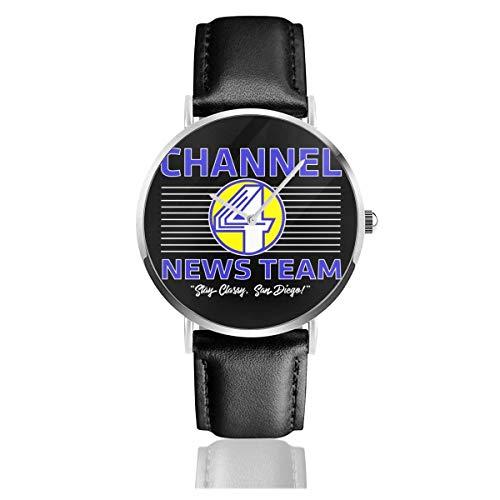 Unisex Business Casual Anchorman Channel 4 News Team Logo Relojes Reloj de Cuero de Cuarzo