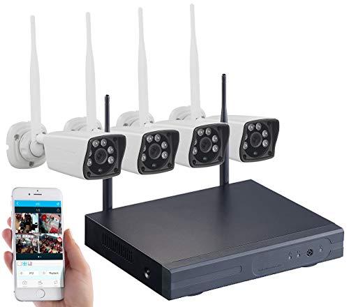 VisorTech WLAN Kamera Set: Funk-Überwachungs-Set mit HDD-Rekorder und 4 Full-HD-Kameras, App (Überwachungskamera mit Recorder)