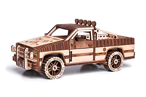 Wood Trick Pickup Toy Truck Model Kit for Adults and Kids - Very Detailed Car Construction - 8x3″ - 3D Wooden Puzzle