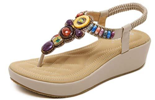 Plateau Sandalen Damen sandaletten mit keilabsatz Espadrille Sommer Leder Offene Bohemia Zehentrenner Sandalen R?mersandalen Boho Schuhe Casual Strand,Beige,42 EU