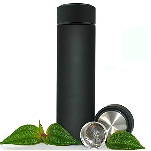JUSHACHENGTA Stainless Steel Travel Mug - Tea Infuser Bottle - Double Wall Insulated Hot Coffee Thermos - Cold Fruit Infused Water Flask - Food Grade Leak Proof 17 Oz