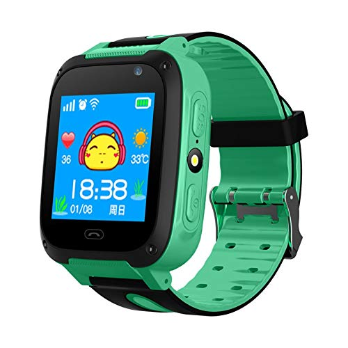 ZTYY Kinder Global Smartphone Meter Uhr Fotografie LED Blinkabstand Positionieren SOS Russische SIM-Karte Kinder Smartwatch-Uhr (Color : Green, Size : Spanish)