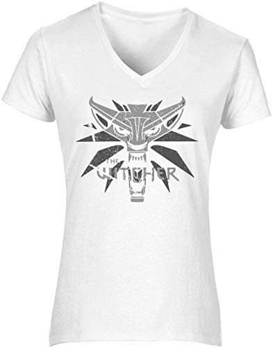 The Witcher Symbol Wolf Women's T-Shirt V Neck Camiseta Mujer Tshirt