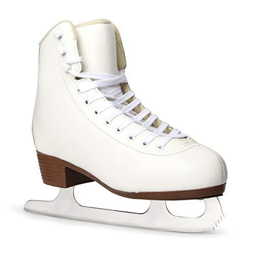 HealHeatersⓇ Retro Schlittschuhe Mädchen Mit Komfortablem Innenschuh Und Stoßdämpfungsdesign, High Top Schnür Eiskunstlauf,36