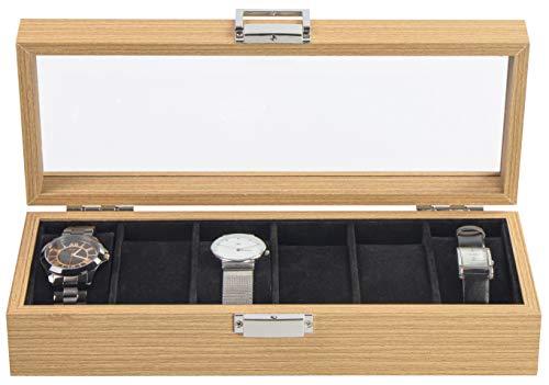 LAUBLUST Uhrenbox Holz-Optik 6 Fächer - ca. 31 x 12 x 7 cm, Naturbraun | Uhrenkasten mit Sichtfenster-Deckel