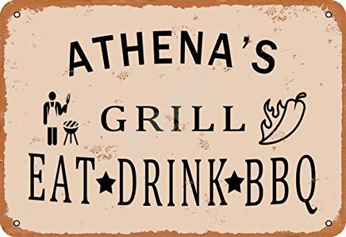 HONGXIN Athena's Grill Eat Drink BBQ Metallschilder Warnschild Metallschild Poster Kunstdekoration für Bar Cafe Hotel Büro Schlafzimmer Garten