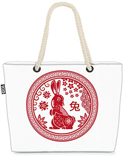 VOID Hase Tierkreiszeichen Strandtasche Shopper 58x38x16cm 23L XXL Einkaufstasche Tasche Reisetasche Beach Bag