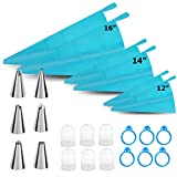 24 Pcs Cake Decorating Piping Bag And Tips Set Icing Silicone Reusable Bags Kit Cupcake Cookie Pastry Macaroon Decorations Frosting Baking Manga Pastelera Sugar Accessories