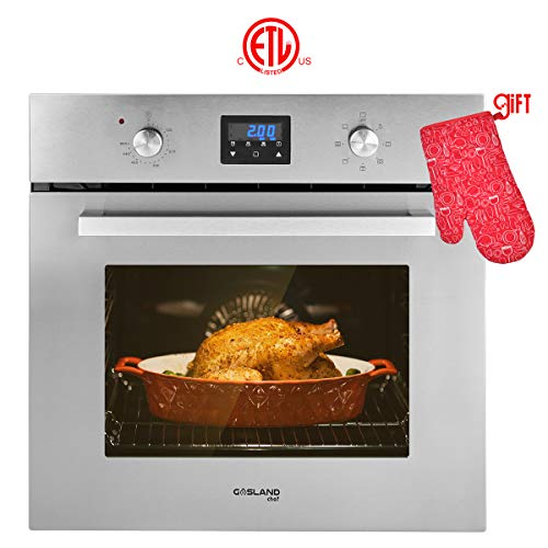 Single Wall Oven, GASLAND Chef ES609DS 24' Built-in Electric Ovens, 240V 2800W 2.3Cu.f 9 Cooking Functions Convection Wall Oven, Digital Display, Mechanical Knob Control, Stainless Steel Finish