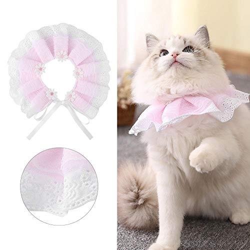 Hondenhalsband, verstelbare bloemenslabaccessoires, kanten ketting voor kitten, hond, kattenpup (L)