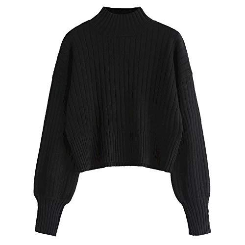 ZAFUL Women's Mock Neck Long Sleeve Ribbed Knit Basic Pullover Sweater (Black)