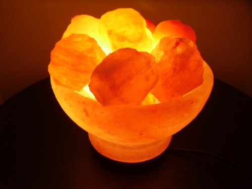 Crystal Rock Salt Fire-Bowl Lamps with Cords and Bulbs