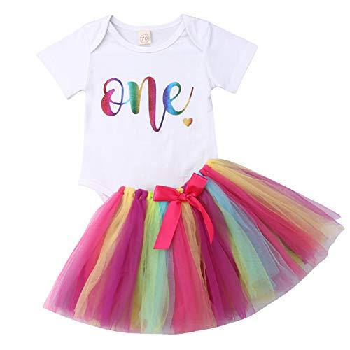 Geagodelia Babykleidung Set Baby Mädchen 1. Geburtstag Kleidung Outfit Body Strampler + Tüllrock Tütü Rock Neugeborene Kleinkinder Kindergeburtstag Geschenke 1 Jahr (Bunt 715 - Kurzarm)