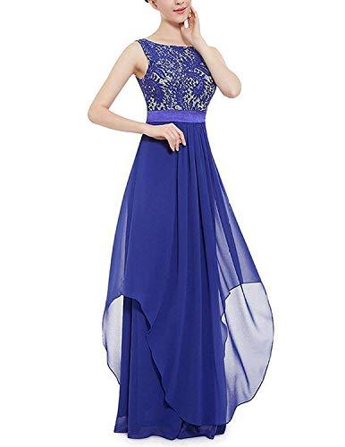 MODETREND Donna Elegante Vestiti da Matrimonio Pizzo Abito in Chiffon Lunghi Vestito Formale Banchetto Sera,Blu,L