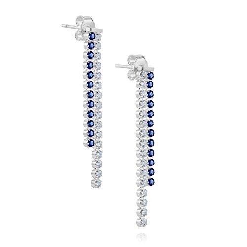LillyMarie Donne Orecchini a Perno Argento 925 Bianco blu Swarovski Elements Originali Strass Pendenti Confezione Regalo Idee per le Natale