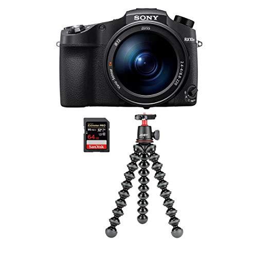 Sony Cyber-Shot DSC-RX10 IV 20.1MP Digital Camera, Black - Bundle with Joby GorillaPod 3K Kit Black, 64GB SDXC U3 Card