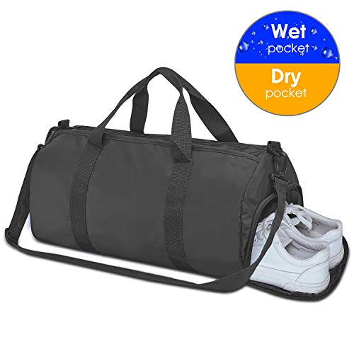 Sports Gym Bag, UOWGA Travel Duffel Bag Weekender Overnight Bag with Wet Pocket and Shoes Compartment for Women and Men