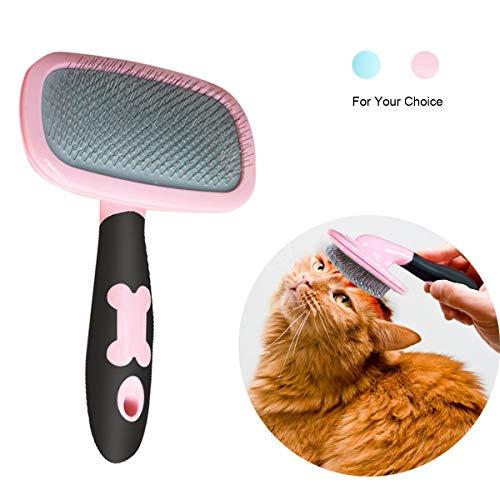 Makerfire Cepillo para Perros de Pelo Largo Pelo Corto, Cepillos para Gatos, 360 Degree Rotation Flexible Slicker Brush for Mascota Rose